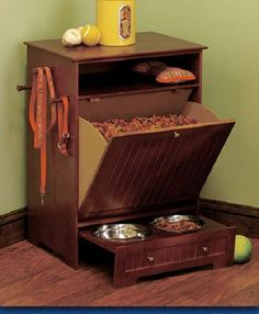 This one it could be perfect for Coco! Elevated Dog Cat Feeder Wood W/ Storage Container Cabinet Pet Food Bowls Raised