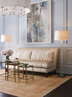 The John-Richard chandelier is ideal in this opulent space.