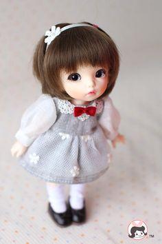 * Плата Lati-Y/Puki / AE и других японских темперамента серые шелковые цветы Puff рукавом платье * - Taobao