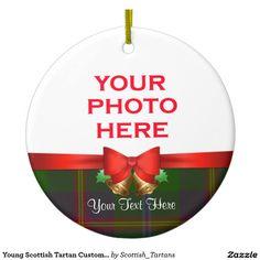 Young Scottish Tartan Custom Christmas Photo Double-Sided Ceramic Round Christmas Ornament