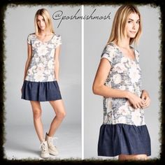 """Floral Dress / Tunic w/ Denim Ruffle Super cute dress or tunic is 85% polyester 15% rayon. Large is 34.5"""" long.  Medium is 33.5"""" long. Small is 33"""" long. Dresses Mini"""