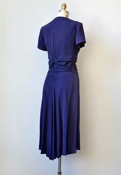 vintage 1940s navy silk rayon dress with bows - Click Image to Close