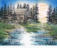 Stampscapes scene using Cabin With Fence, Waterside Bluff left and right