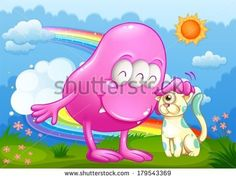 Buy Pink Monster and a Cat at the Hilltop by interactimages on GraphicRiver. Illustration of a pink monster and a cat at the hilltop with a rainbow in the sky