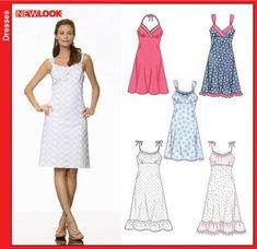 New Look Misses Dress 6676 - spaghetti-strap knee-length dress, zipper, size 6-16