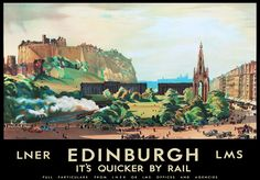 edinburgh vintage travel   TU87 Vintage Edinburgh LMS LNER Railway Travel Poster Re-Print A2 A3 ...
