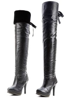 Faux Leather Multiple Over The Knee Boots