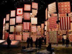 red & white quilts.... NYC Armory