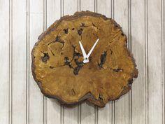 Oak Burl Natural Wood Clock   Live Edge by MissouriNatureArt