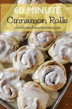 60 minute cinnamon rolls to hot, fresh, gooey, homemade cinnamon rolls.  It's true!  @yourhomebasedmom.com