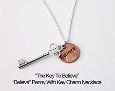 The Key To Believe Necklace. Hand Stamped by JewelryImpressions