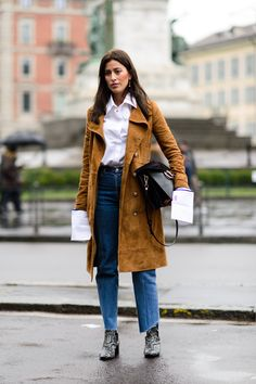 The Best Street Style From Milan Fashion Week - loving this camel coat and long-sleeved white blouse