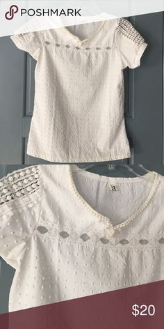 Beautiful White Blouse with Pearls Beautiful White Blouse with Pearls details and embroidery. Like new condition. Tops Blouses