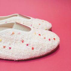 "Tweed ""pompons"" slippers Via Gioia Paris"