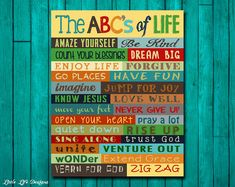 ABC's of Life. Motivational Art. Christian Wall Art. Inspirational. Family Rules. Words to Live By. Family Home Decor. House Warming Gift.