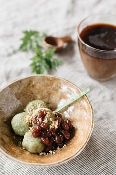 yomogi dango served in a small Japanese pottery bowl topped with sweet azuki bean paste and kinako soy bean powder Easy Japanese Recipes, Vegan Recipes Easy, Asian Recipes, Gourmet Recipes, Cooking Recipes, Thai Cooking, Cooking Chef, Cooking Wine, Cooking Salmon