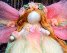 Ethereal Pink Garden Fairy  Needle felted wool fairy by Nushkie