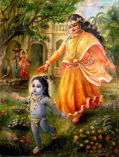Krishna Art Painting - Krishna Damodara by Lila Shravani Krishna Lila, Cute Krishna, Radha Krishna Photo, Krishna Radha, Radha Rani, Lord Krishna Images, Radha Krishna Pictures, Krishna Photos, Yashoda Krishna