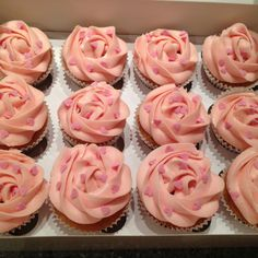 Girlie cupcakes for a hen - strawberry cupcakes with strawberry jam centers and vanilla buttercream #velvetrosecakes