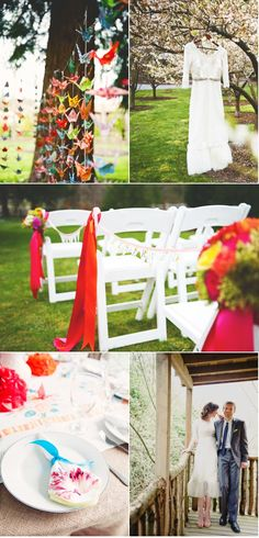 ceremony decorating idea: ribbon on chairs (easy!)