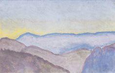 Koloman Moser (Austrian, 1868 - Semmering Landscape with View of the Rax (Semmeringlandschaft mit Blick zur Rax), 1913 Oil on panel, 25 x 38 cm via viennacalls Koloman Moser, Mobile Art, Art Database, Gustav Klimt, Lovers Art, Moonlight, Art Gallery, Landscape, Abstract