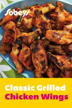 Looking for a classic wings recipe that's simple and easy to make? Try our Classic Grilled Chicken Wings recipe from Sobeys. These smokey and delicious wings are always a crowd favourite! Grilled Chicken Wings, Tandoori Chicken, Chicken Wing Recipes, Barbecue, Stuffed Peppers, Cooking, Classic, Ethnic Recipes, Food