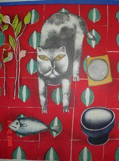 Franco Gentilini (Italia, 1909-1981). Cat and fish, 1970.