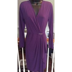 """MICHAEL Michael Kors Dress Beautiful purple long sleeve dress. Gathered on one side. Excellent condition. Measures 18"""" across the chest and 40"""" in length. MICHAEL Michael Kors Dresses Midi"""