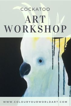"""""""Learn to Paint, Anyone Can"""" come along and learn how to paint this gorgeous cockatoo @ colouryourworldart Cockatoo, Learn To Paint, Step By Step Instructions, Have Fun, Workshop, Learning, Creative, Painting, Color"""