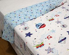 Kids' Quilts - Sailboat Baby Bedding Coverlet Quilt Bedspread Throw Blanket for Kids Girl  Boys Bed Gift 100 Natural Cotton Twin L sailboat -- Read more at the image link.