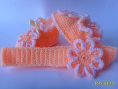 Light Orange baby booties with matching by DariaIsTheReason, $30.00
