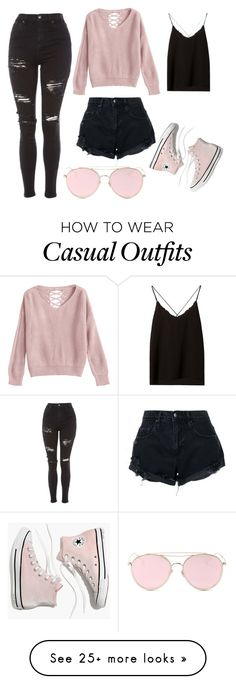 """Pastel Pink Casual Day"" by battle-llama on Polyvore featuring Topshop, Massimo Dutti, Madewell, Nobody Denim and LMNT"