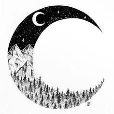 #art #ink #fineliner #blackandwhite #drawing #inkart #tattoo #illustration #iblackwork #thedotworkers #arts_help #arts_gallery #moon #night #tree #pinetree #forrest #nature #stars #mountains #dotart #dotwork