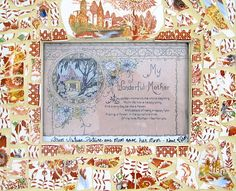 Vintage broken dishes picture frame brown by blissfullychipped