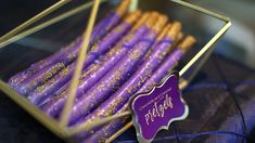 Purple and Gold Baby Shower  Lavish, Sophisticated, and trendy baby shower décor.  Deluxe treats and décor.