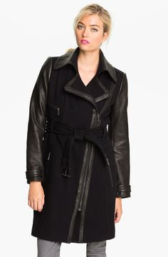 Buy Andrew Marc Women's Black Belted Trench with Leather Sleeves, starting at $995. Similar products also available. SALE now on!