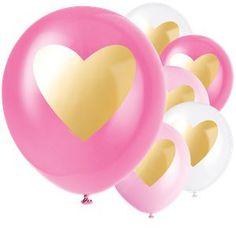 Ballonnen pink gold hart (6st)