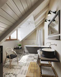 Při návrhu koupelny v podkrovních místnostech zkuste umístit vanu tak, abyste během lázně měli výhled ven z oken; G Servis