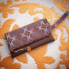 African Wax Print Fold Over Clutch Bag  Brown by ChangNoii on Etsy