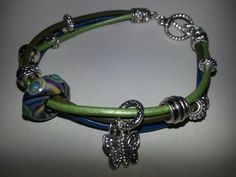Nolly's Butterfly Bangle Bracelet Shades of Green