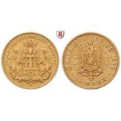 Deutsches Kaiserreich, Hamburg, 10 Mark 1877, J, ss, J. 209: 10 Mark 1877 J. J. 209; GOLD, sehr schön 230,00€ #coins