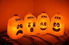 My Halloween milk jug ghosts are finished! Good thing my kids drink lots of milk. Instead of putting a string of Christmas lights or glow-in-the-dark-sticks I opted to put in battery (timer) operated fake candles. They smell nice to boot!