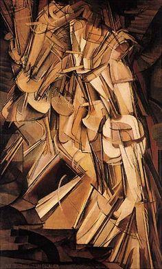 """Il famoso """"Nudo che scende le scale n° 2"""" (1912) di Marcel Duchamp, che siglò il definitivo distacco dell'artista dal movimento cubista e lo rese famoso a New York, dove il quadro fu esposto nel 1913."""