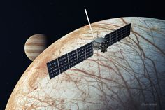 Jupiter's moon Europa has an icy crust covering a vast, global ocean. The rocky layer underneath may be hot enough to melt, leading to undersea volcanoes. Jupiter's Moon Europa, Space Exploration Technologies, Spacex Falcon Heavy, Space Launch System, Jupiter Moons, Gas Giant, Kennedy Space Center, Unsung Hero, Astronomy