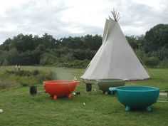 """What's this? Just a teepee and a portable """"Dutch Tub"""". For when you want to camp and steam."""
