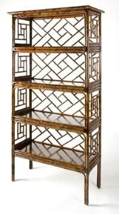 a gorgeous etagere- light looking but would hold a lot- books, accessories, photos, whatever!