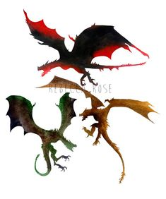 Game of Thrones Watercolor Dragons, Dragon Art, Giclee Print, Fire and Blood, … Game Of Thrones Tattoo, Tatouage Game Of Thrones, Game Of Thrones Drawings, Game Of Thrones Art, Small Dragon Tattoos, Dragon Tattoo For Women, Dragon Tattoo Designs, Got Dragons, Mother Of Dragons