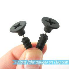 Realistic Screw Nail Shaped Fake Gauge Plug by uniquefakegauges, $10.00