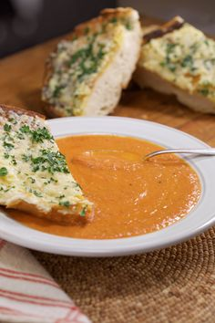 Image result for tomato turmeric soup with garlic bread