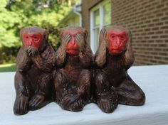 Very cute collectible. Three monkees sitting together. Speak no evil, see no evil and hear no evil. Material is a wood base epoxy. It does not have a maker's mark. See No Evil, Don't Speak, Types Of Wood, Makers Mark, Third, Room Decor, Cute, Animals, Etsy